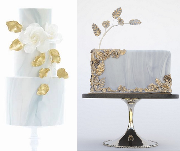 Marble cakes with gold accents by Sweet Love Cake Couture left, Three Little Cakes right