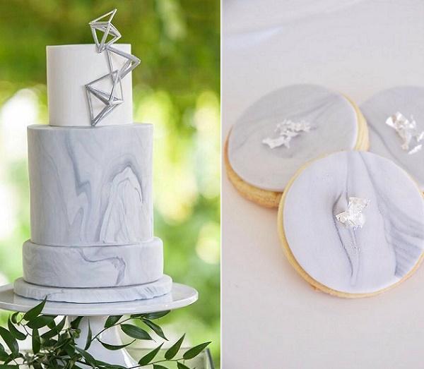 Marble wedding cake by Nicole McEachnie, Blush Photography left, De La Rosa Cupcakes right