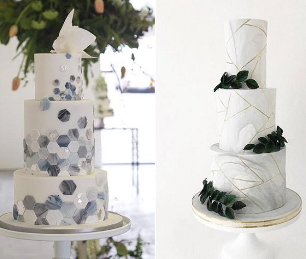 Marbled hexagons wedding cake by Happy Hills Cakes, Gillian McBain Ph left, Jenna Rae Cakes right