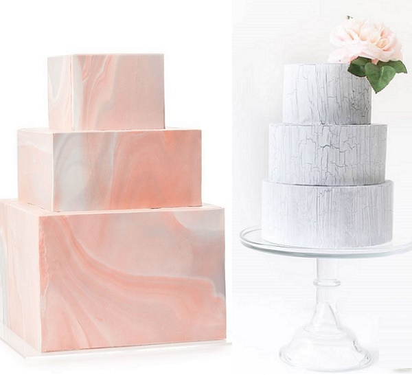 Pink marble wedding cake by Honey Crumb Cake Studio left, weathered effect fondant by Sugablossom right