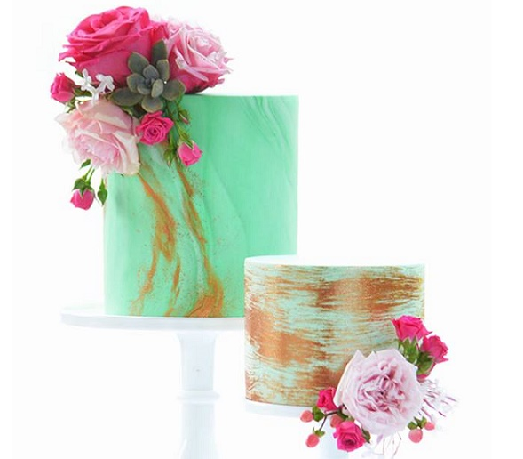Turquoise and gold cakes by Sweet Love Cake Couture