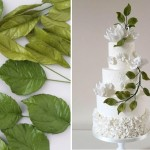 Wedding cake with greenery by DeVoli Cakes, gumpaste foliage by Petalsweet right
