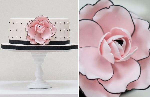 Black tipped rose cake design by Rosalind  Miller Cake Designs