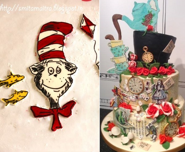 Dr Seuss cartoon cookies by New Dehli Cake Company left, vintage illustrated Alice in Wonderland cake by Sarah Edwards Cake right