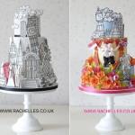 Graphic art illustrated wedding cake designs London theme by Rachelle's Cake Designs