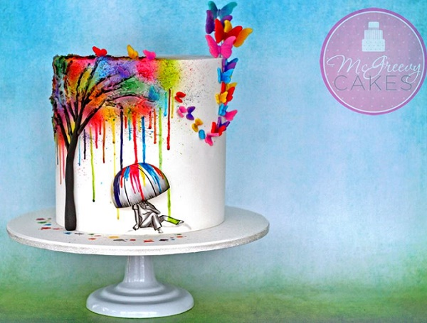 Illustrated cake design by McGreevy Cakes