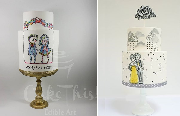Illustrated wedding cakes cartoon style by Cake This left, Nevie Pie right