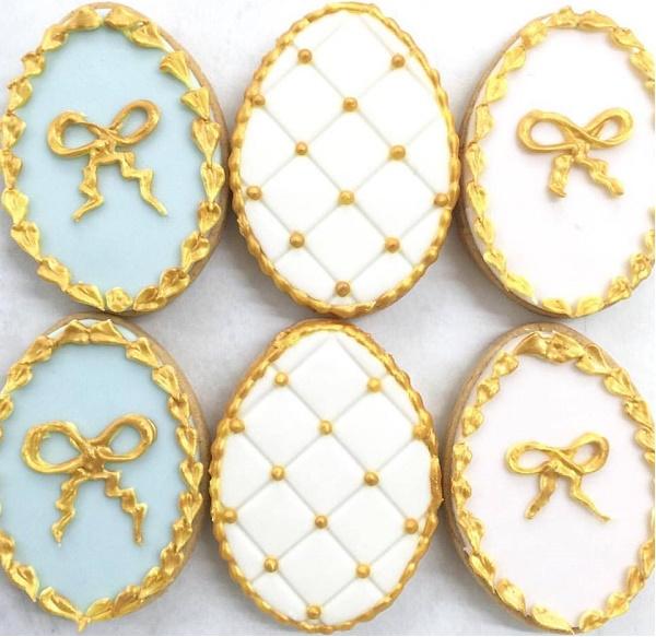 Gold gilded easter egg cookies by Rosalind Miller Cake Design