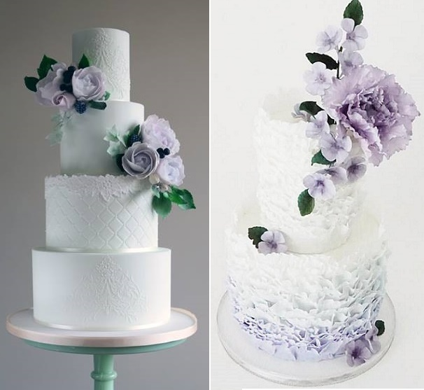Lilac and lace wedding cake by Amelie's Kitchen left, lilac and ruffles by Jenna Rae Cakes