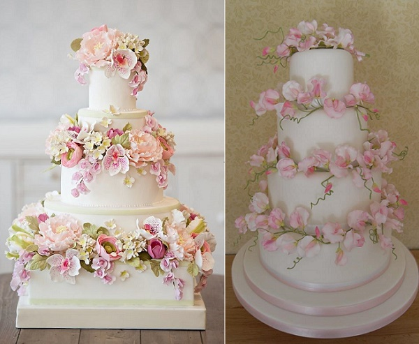 Floral wedding cake by Bobbette and Belle left, Sweet Pea Wedding Cakes by Judi Delaney right