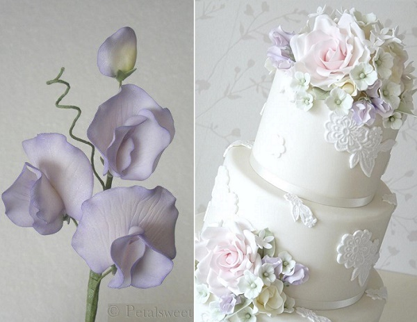 Gumpaste sweet pea by Petalsweet left, floral wedding cake with sweet pea by Rachelle's Cakes