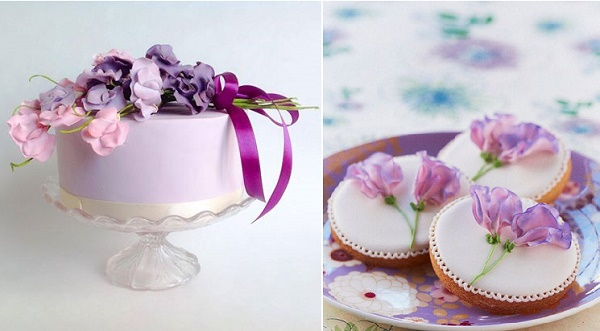 Sweet Pea cake by Morningside Bakes left, sweet pea cookies by