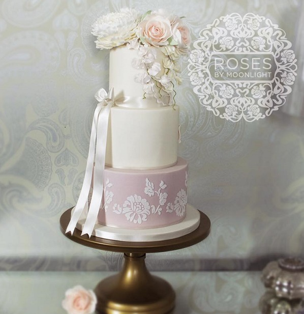 Sweet pea wedding cake by Roses by Moonlight
