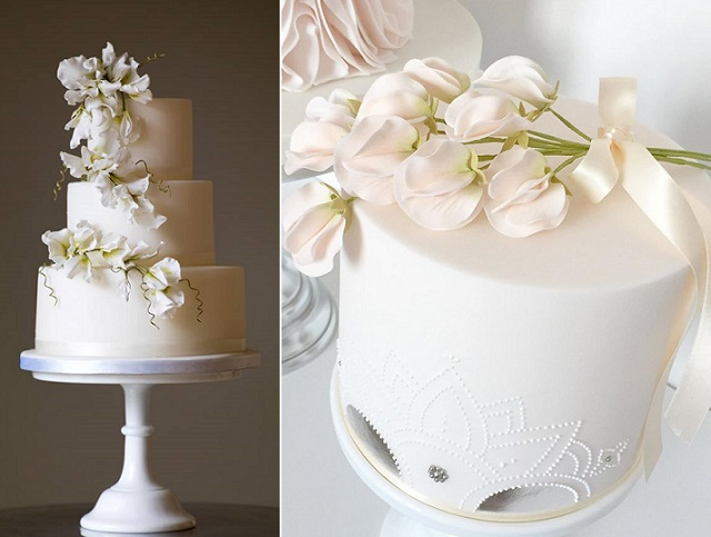 White sweet pea wedding cake by Willow & Bloom left, The Designer Cake Company right