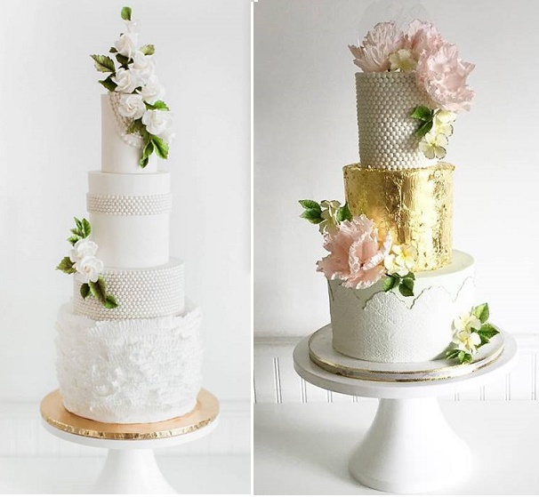 Old world elegance with pearls and garden blooms by Jenna Rae Cakes