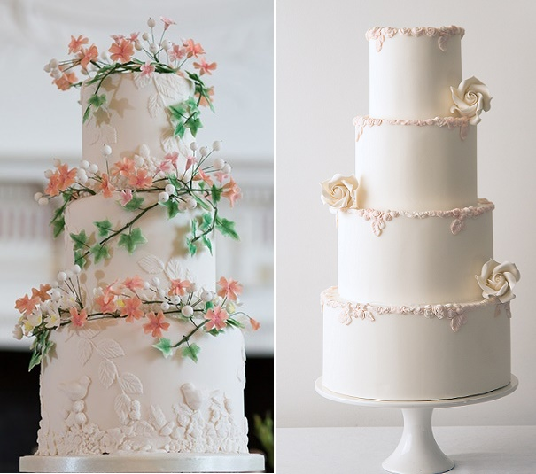 Bas relief wedding cakes by Daisy olly and Me, Martin Dabek Phot left, Abigail Bloom right
