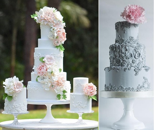 Bas relief wedding cakes by Sweet Love Cake Couture left, Lina Veber Cake Design right