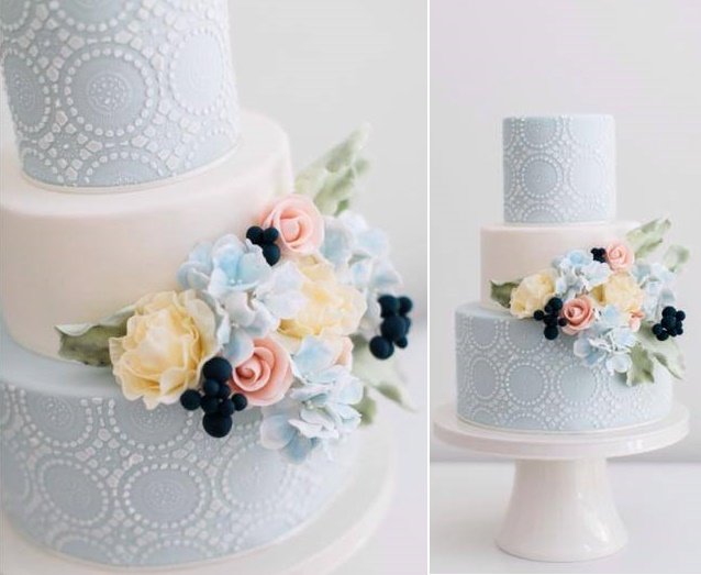 Blue and white wedding cake by The Cake That Ate Paris