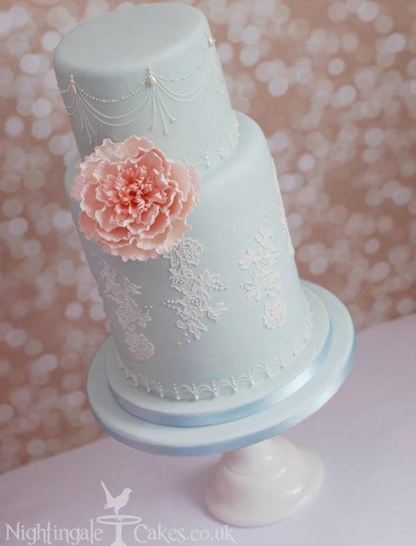 Blue lace wedding cake by Nightingale Cakes