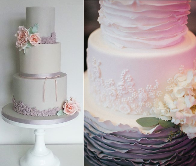 Gray wedding cakes by Amelie's Kitchen left, Amy Beck Designs right, image Tim Tab Studios