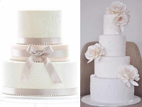 Ivory and lace wedding cakes by Sweet Love Cake Couture.jpg, ivory, dusky pink and oyster