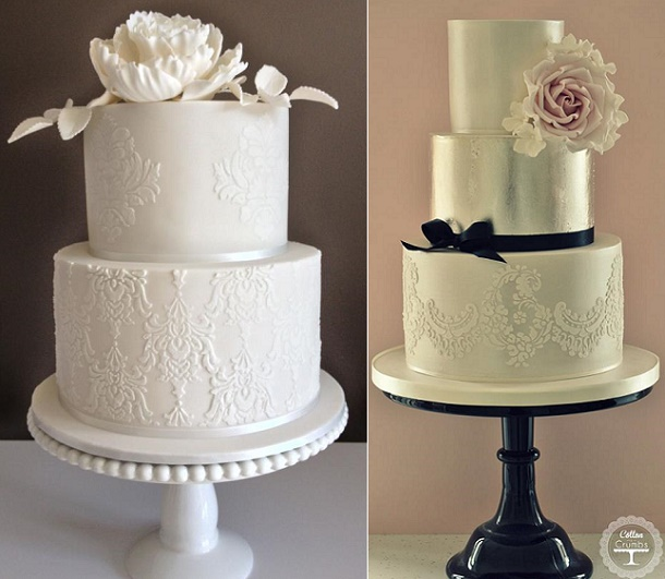 Lace wedding cakes by Cake Envy Melbourne left, Cotton and Crumbs right