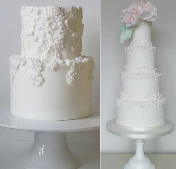Bas relief decorated wedding cakes by Lemon Tree Cakes left, Amelie's Kitchen right