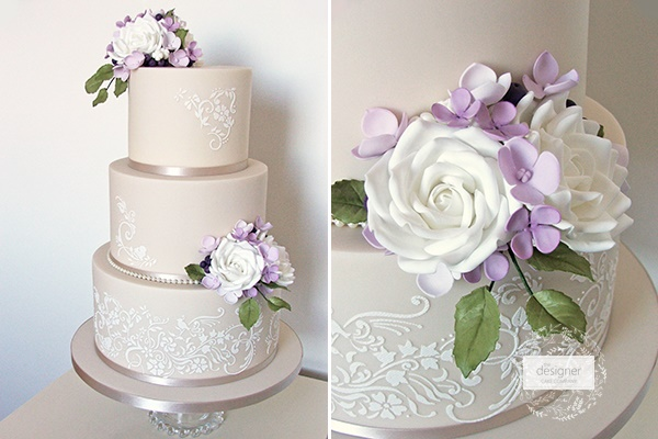 Lilac and roses lace wedding cake by The Designer Cake Co