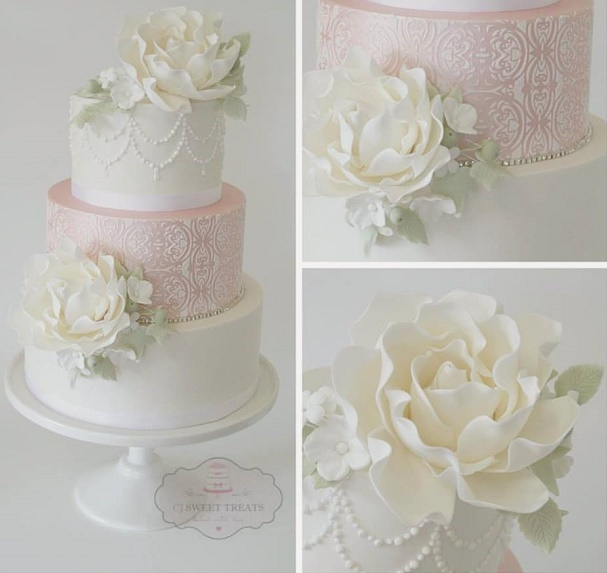 Peonies and lace wedding cake by CJ Sweet Treats
