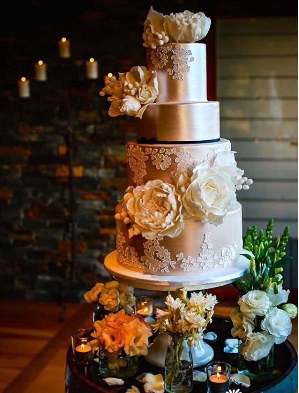 Rose gold and lace wedding cake by Kiss My Cakes AU, Megan Aldridge Phot