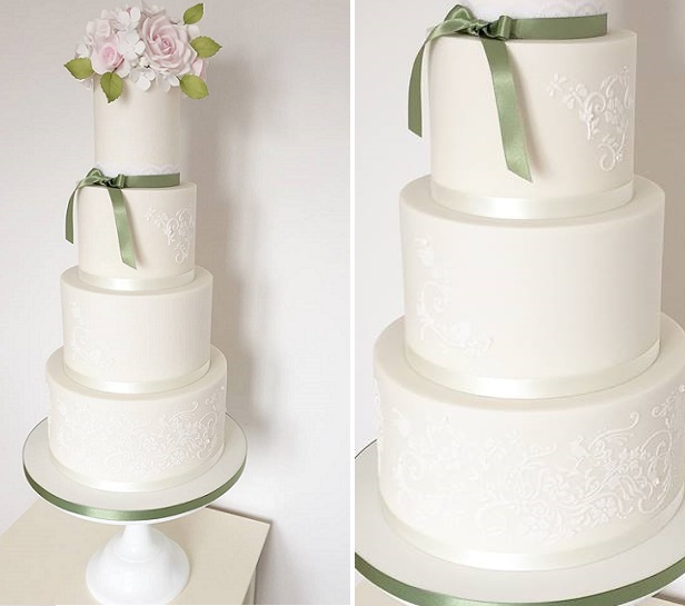Roses and lace wedding cake by The Designer Cake Company