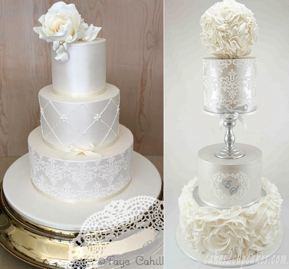 Stencilled lace wedding cakes by Faye Cahill Cake Design left and Cakes2Cupcakes right
