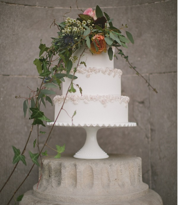 Wildflower wedding cake with bas relief borders by Gift Cakes, (Paul O'Hara Photography)