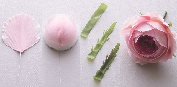 Gumpaste English Rose Tutorial from Sugar Flowers by Naomi Yamamoto, B Dutton Publishing, Takeharu Hioki Photography, 7