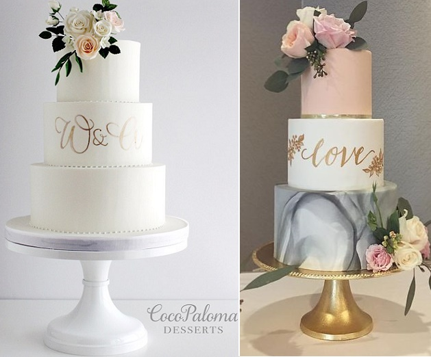 Gold Cake Calligraphy Wedding Cakes by Coco Paloma Desserts left and Honey Crumb Cake Studio right