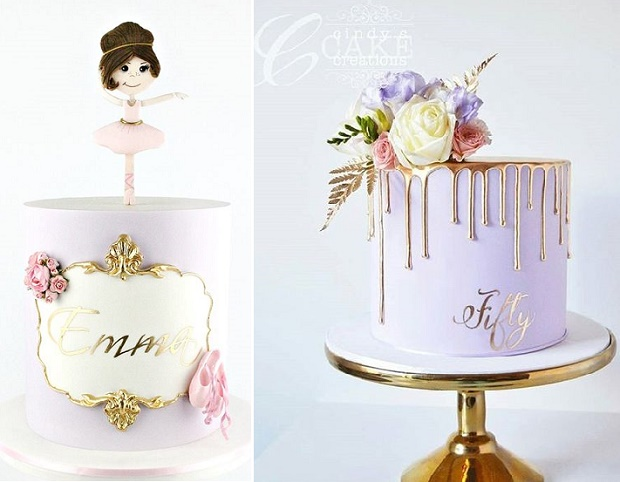 Gold calligraphy birthday cakes by Caking It Up left, Cindy's Cake Creations right