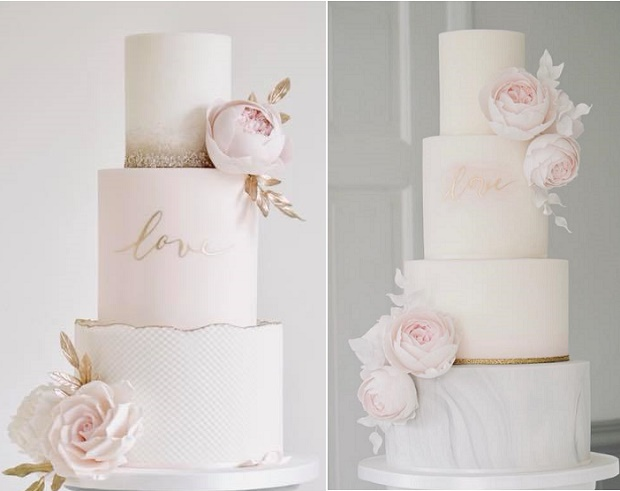 Gold calligraphy wedding cakes by Cotton & Crumbs