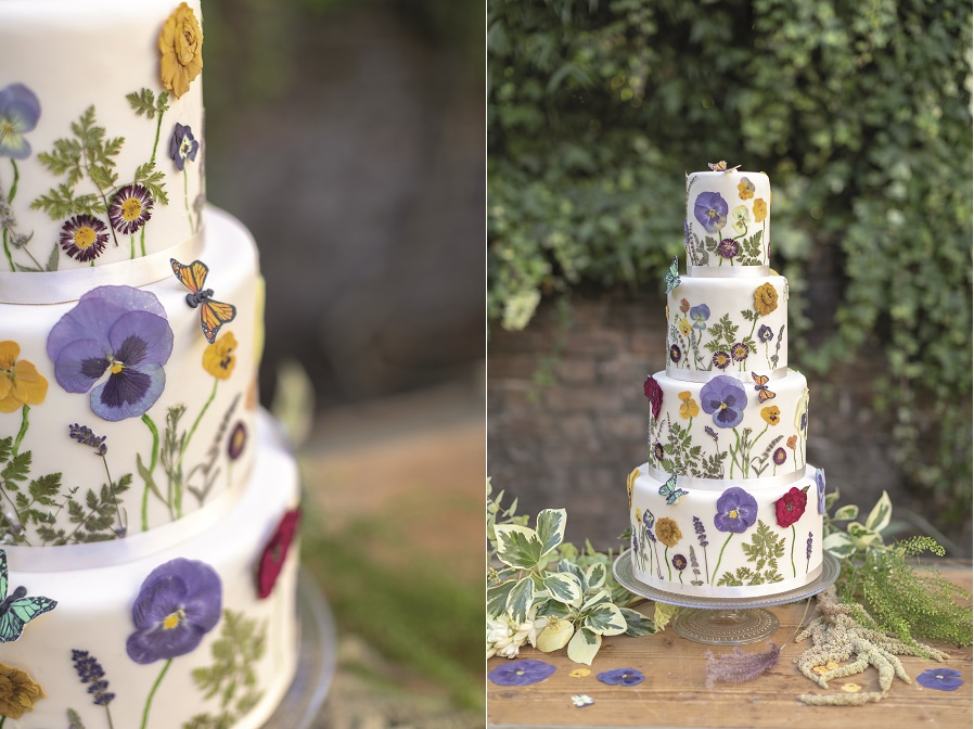 Wildflower wedding cake tutorial with meadow flowers and butterflies by Juliet Sear from Botancial Baking