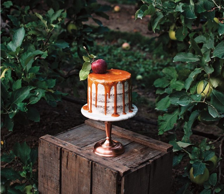Caramel drip apple walnut spice layer cake on Cake-Geek.com from The Farmer's Daughter Bakes, Kelsey Siemens