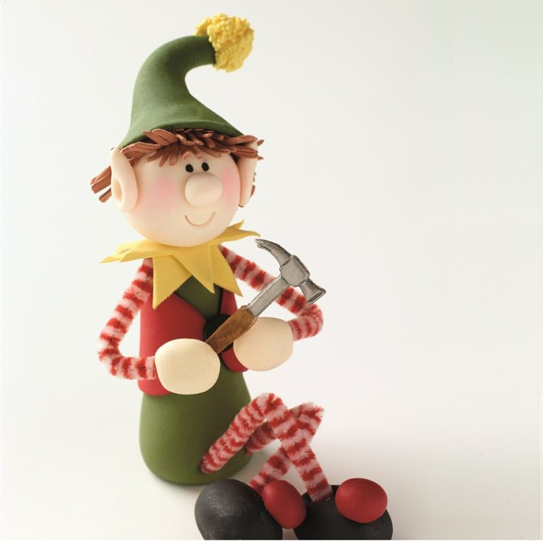 Gumpaste Elf Cake Topper Tutorial on Cake-Geek.com from Quick & Easy Cake Toppers, Search Press Studio