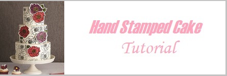 Hand stamped cake tutorial with floral appliques on Cake-Geek.com