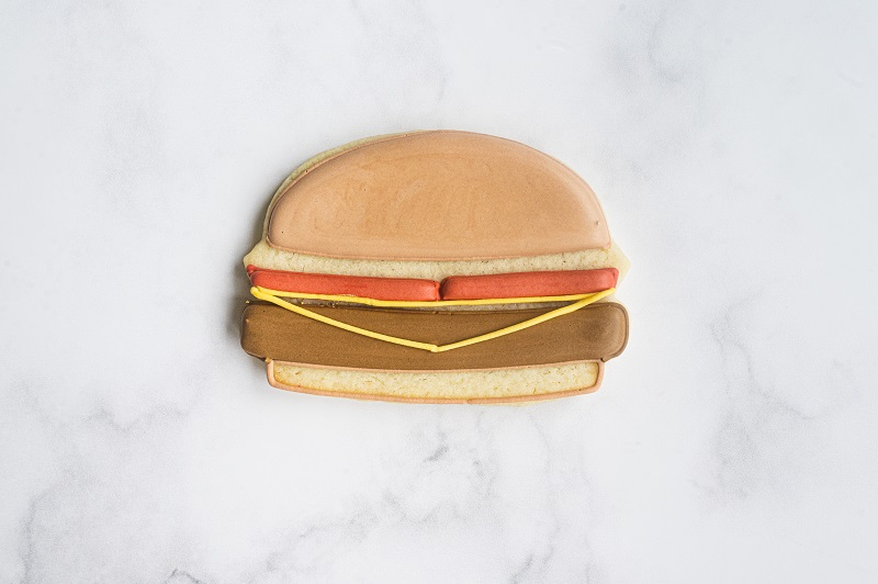 Cheeseburger Cookie Tutorial by Anne Yorks Cheese Outline