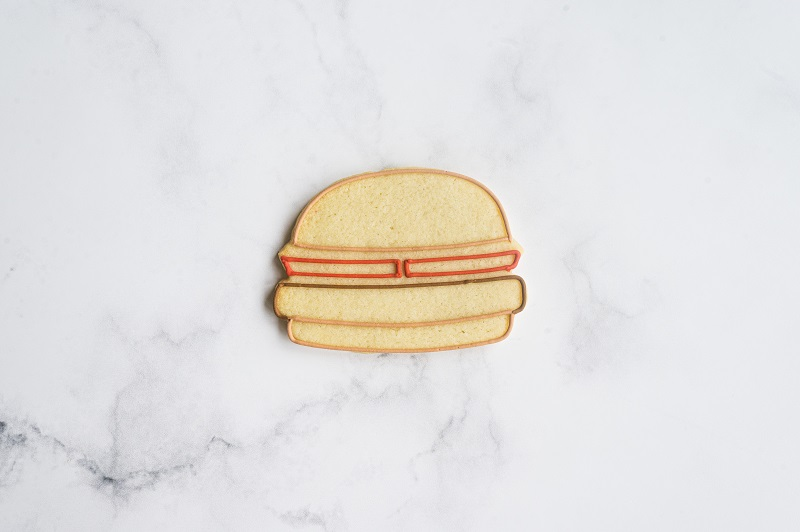 Cheeseburger Cookie Tutorial by Anne Yorks Outline