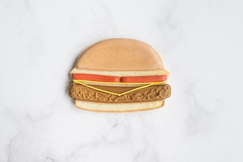 Cheeseburger Cookie Tutorial by Anne Yorks Texture On Burger