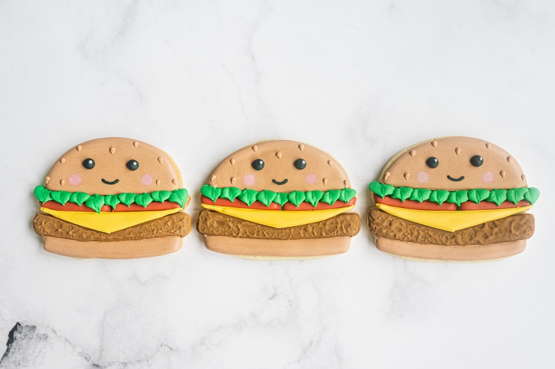 Cheeseburger Cookie Tutorial for Father's Day by Anne Yorks