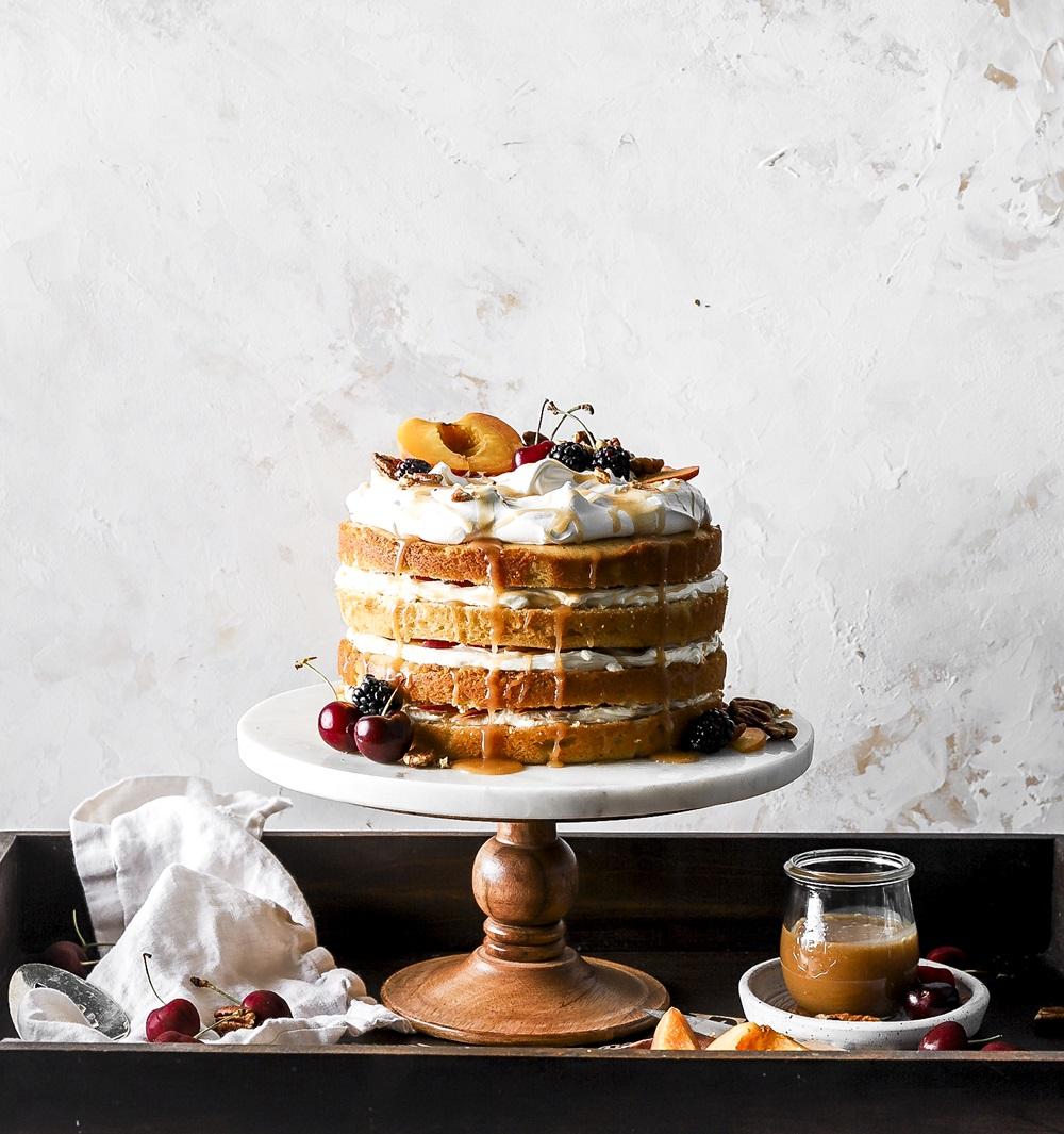 Caramel Peaches and Cream Cake on Cake-Geek.com by Bernice Baran