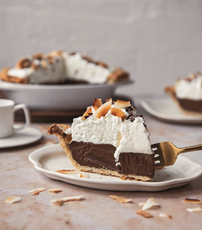 Mocha Coconut Cream Pie on Cake-Geek.com by Taylor Harbin from Pie All the Time
