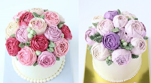 buttercream David Austen roses or cabbage roses and buttercream ranuncula by Eat Cake Be Merry