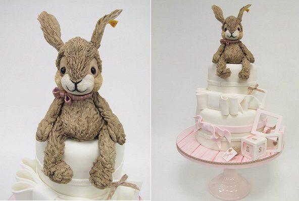 vintage teddy bunny rabbit cake by Emma Jayne Cake Design
